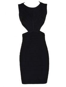 Halter Open Back Bodycon Bandage Dress - Black L