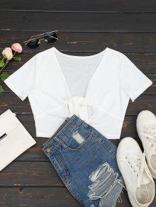 T-shirt à Col Ras De Cou Plongeant - Blanc L