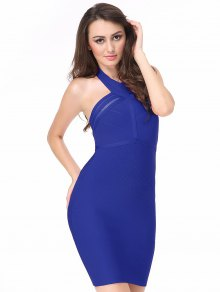 Halter Mesh Panel Bodycon Bandage Dress - Blue L
