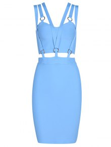 Zippered Cut Out Fitted Dress - Sky Blue L