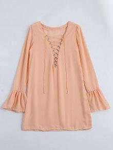 Flare Sleeve Lace Up Shift Dress - Orange Xl