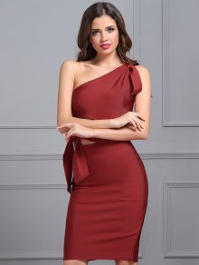 One Shoulder Cut Out Fitted Dress - Red S