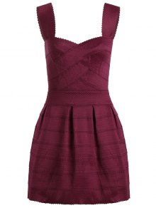 Sweetheart Neck Jacquard Puffball Dress - Deep Red
