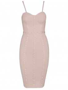 Embellished Cami Bandage Dress - Pink L