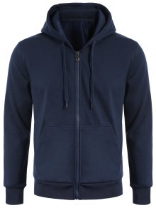 Drawstring Kangaroo Pockets Zip Up Hoodie - Purplish Blue L