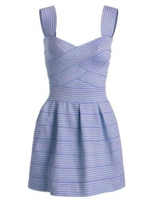 Sweetheart Neck Puffball Mini Dress - Blue