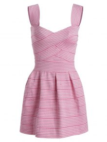 Sweetheart Neck Puffball Mini Dress - Pink