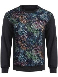 Pullover Fishnet Panel Printed Sweatshirt - Black M