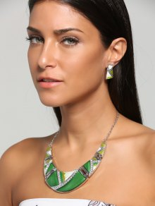 Boho Geometrical Spliced Faux Gem Necklace And Earrings - Green