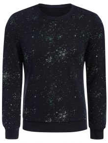 Patterned Jewel Neck Pullover Sweatshirt - Deep Blue Xl