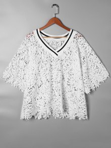 V Neck Cutwork Lace Blouse - White L