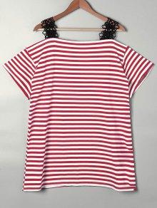 Lace Trim Striped Open Shoulder T-shirt - Red S