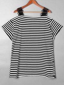 Lace Trim Striped Open Shoulder T-shirt - Black S