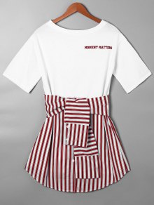 Striped Tie Belt Curved Hem Tee Dress - Red S