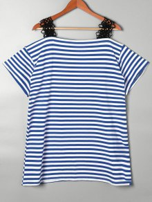 Lace Trim Striped Open Shoulder T-shirt - Blue Xl