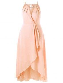 Plus Size Cut Out Overlap Flowing Dress - Pinkbeige 5xl