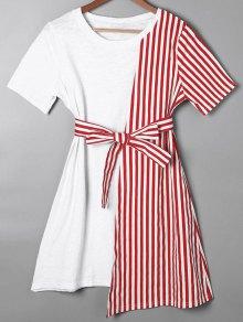 Striped Asymmetrical Mini Tee Dress - Red M