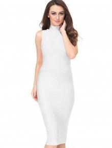 High Neck Sleeveless Bandage Dress - White L