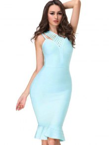 V Neck Fitted Bandage Dress - Sky Blue L