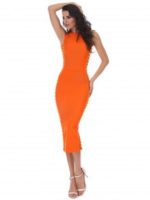 Hollow Out Sleeveless Slit Bandage Dress - Orange L