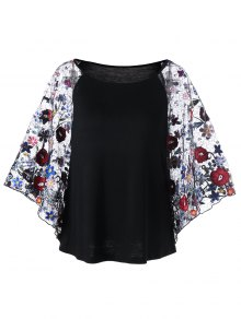 Embroidery Sheer Batwing Sleeve Blouse - Black 2xl