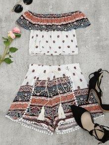 Flounce Tribal Print Top And Shorts Set - Multi L