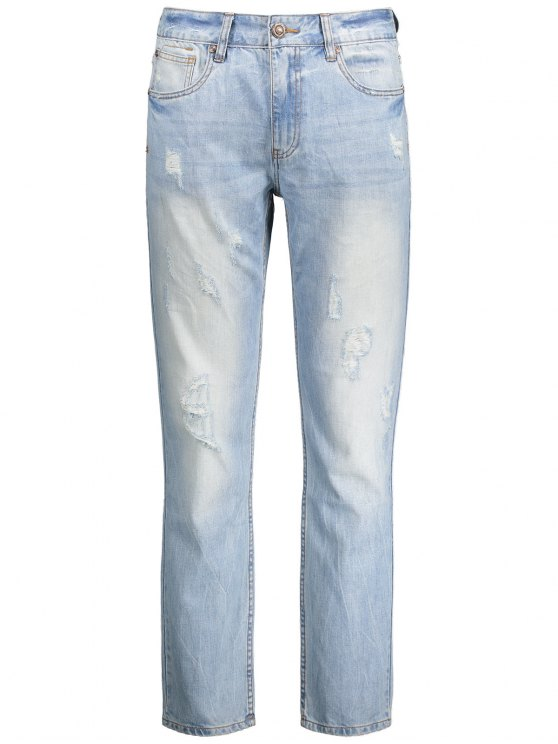 Worn Ripped Zip Fly Straight Jeans - Bleu clair 32