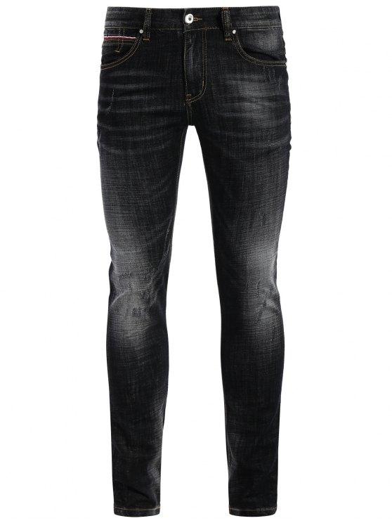 Zipper Fly Straight Worn Jeans - Noir 32