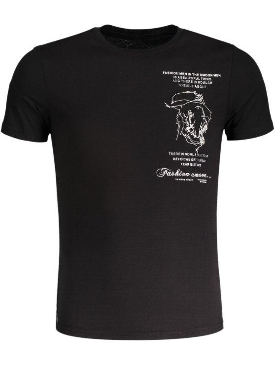 T-shirt en coton brodé pour femme - Noir L