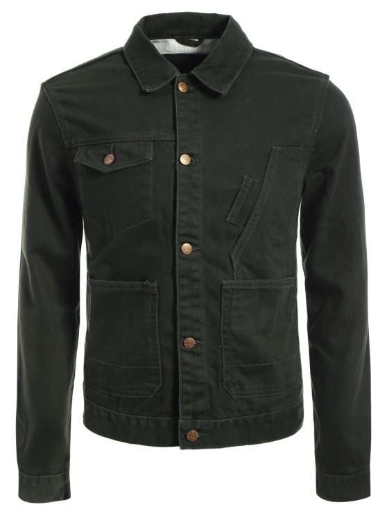 Slim Fit Front Pockets Denim Jacket - Vert Armée M