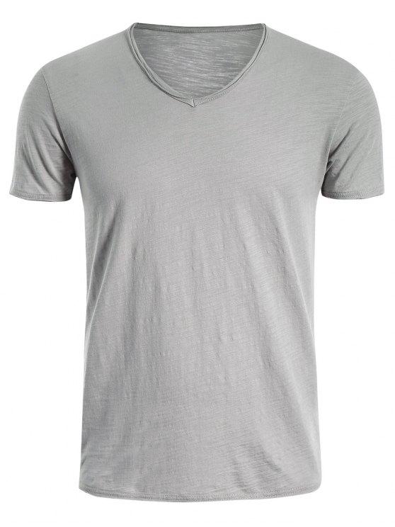 T-shirt en coton V Neck Basic - Gris Clair XL