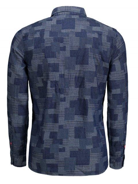 Chemise en coton à manches longues Jacquard - Indigo M Mobile