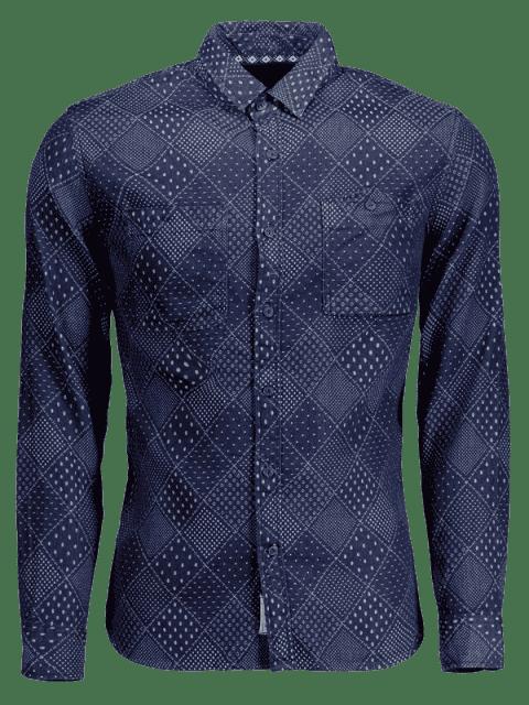 Chemise à manches longues Jarcquard Denim Mens - Bleu 2XL Mobile