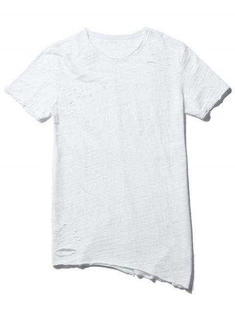 Tee Asymétrique Affligé Raw Edge - Blanc L Mobile