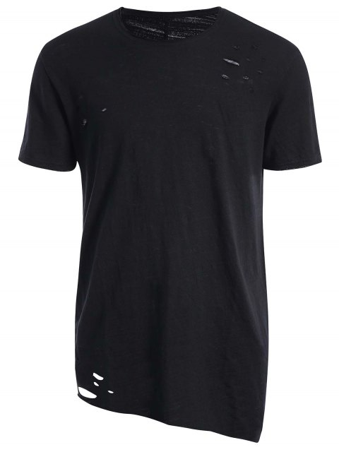 buy Raw Edge Distressed Asymmetric Tee - BLACK XL Mobile
