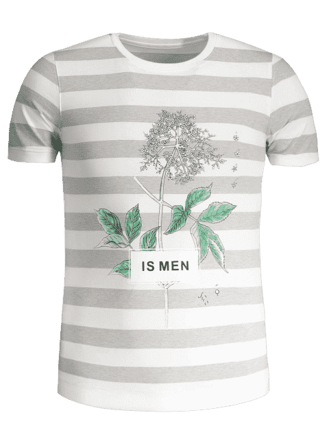 shops Mens Stripe Tree Print Crewneck Tee - GREY AND WHITE 3XL Mobile