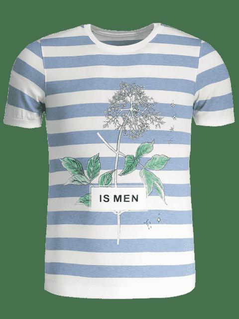 chic Mens Stripe Tree Print Crewneck Tee - BLUE AND WHITE 3XL Mobile