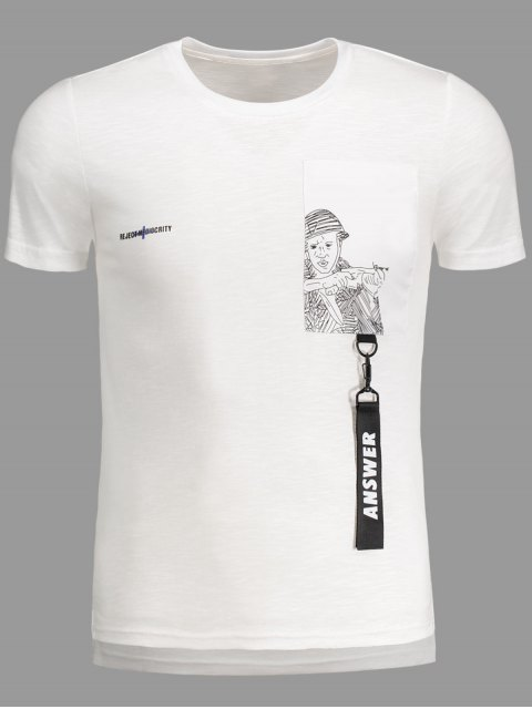 womens Strap Detail Graphic Crewneck Tee - WHITE 2XL Mobile