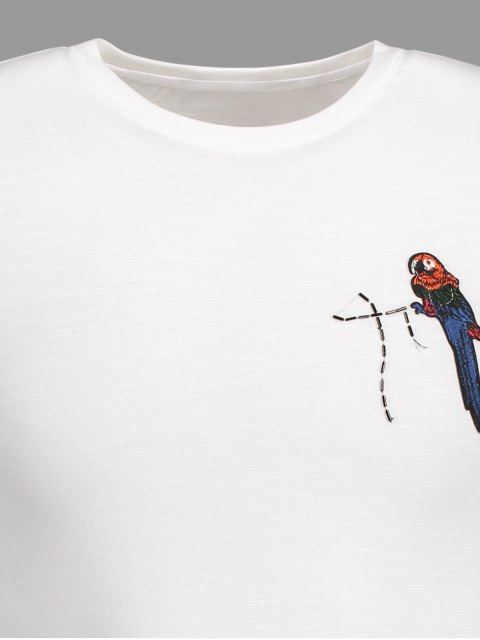 lady Crewneck Bird Patched Tee - WHITE 3XL Mobile