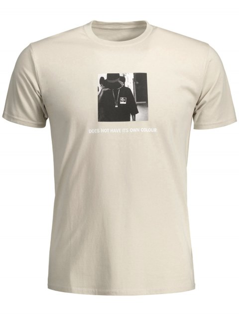 best Mens Graphic Front Tee - KHAKI M Mobile