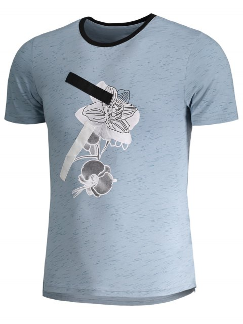 hot Mens Speckled Graphic Jersey Tee - BLUE 3XL Mobile