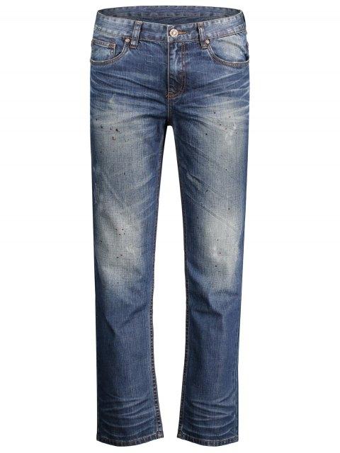 fancy Worn Zip Fly Straight Jeans - DENIM BLUE 36 Mobile