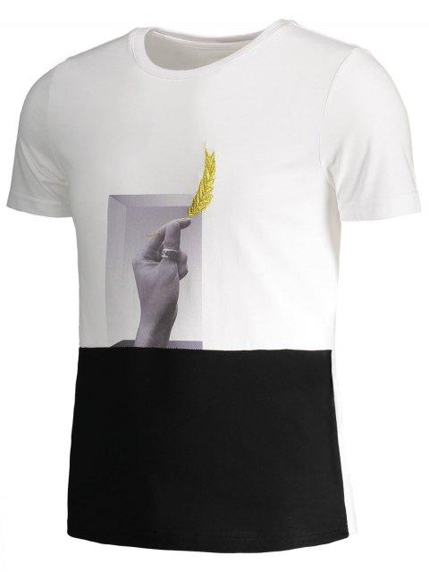 unique Mens Crewneck Graphic Panel Tee - WHITE AND BLACK 2XL Mobile