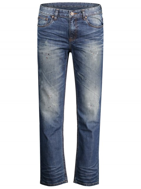 Worn Zip Fly Straight Jeans - Denim Bleu 34 Mobile