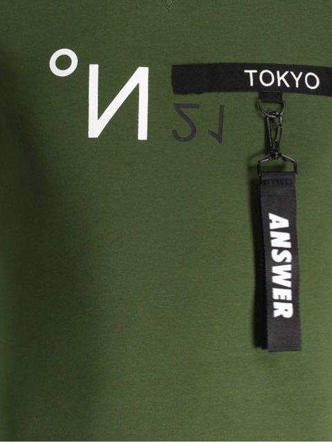 womens Mens Contrast Strap Detail Crewneck Tee - GREEN 3XL Mobile