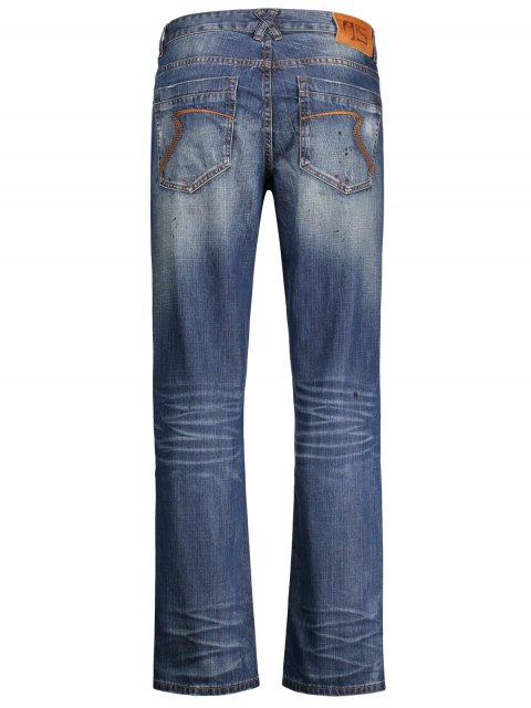 buy Worn Zip Fly Straight Jeans - DENIM BLUE 32 Mobile