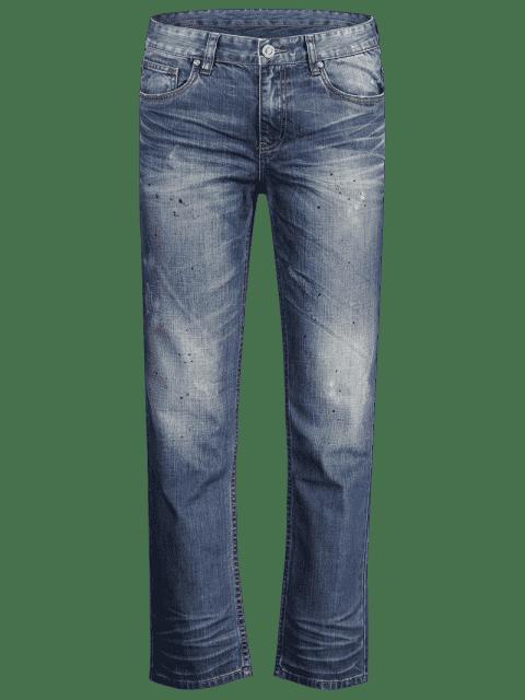Worn Zip Fly Straight Jeans - Denim Bleu 32 Mobile