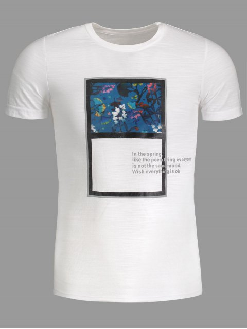 hot Mens Floral Panel Tee - WHITE 3XL Mobile