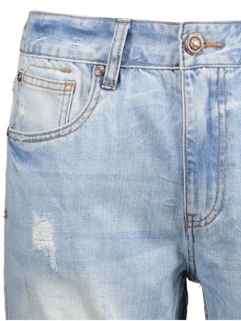 new Worn Ripped Zip Fly Straight Jeans - LIGHT BLUE 32 Mobile