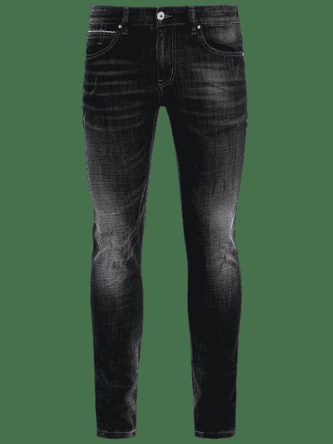 latest Zipper Fly Straight Worn Jeans - BLACK 32 Mobile
